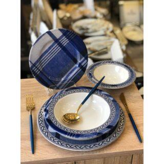 ROY KING Royking Blue Blanch 24 Prc Porselen Yemek Takımı