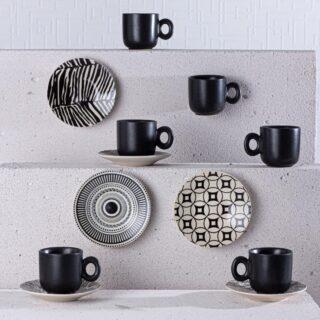 Mat Black 6lı Seramik Kahve Fincan Takımı