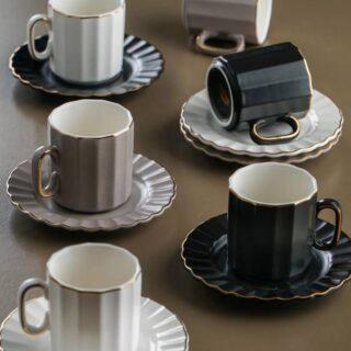 Line 6lı Porselen Kahve Fincan Takımı