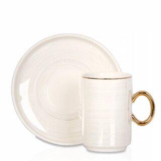 Colorful İnce Çizgili Porselen 6'Lı Kahve Fincan Seti – Beyaz