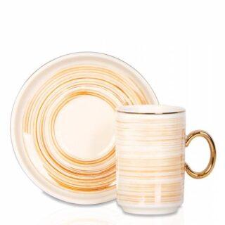 Colorful İnce Çizgili Porselen 6'Lı Kahve Fincan Seti – Turuncu